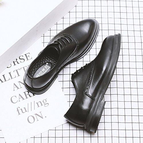 Hommes En Cuir Formel Smart Robe De Mariée Chaussures Respirant Lacets Oxford Chaussures Pour Hommes D'affaires Chaussures Black aA65LQJmj