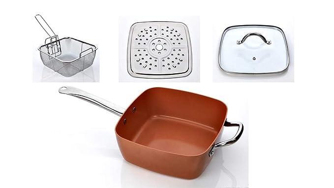 XSQUO Useful Tech Juego DE 2 SARTENES Chef. TAMAÑOS DE 22 Y 26CM + Olla 4 EN 1 Wok, SARTÉN, Olla DE Horno Y FREIDORA. DE Cobre MICRONIZADO Y CERÁMICA.