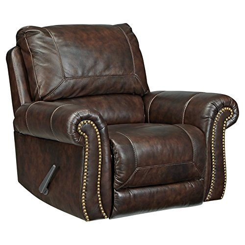 Signature Design by Ashley - Bristan Traditional Style Faux Leather Rocker Recliner, Walnut Brown (Nailhead Recliner)