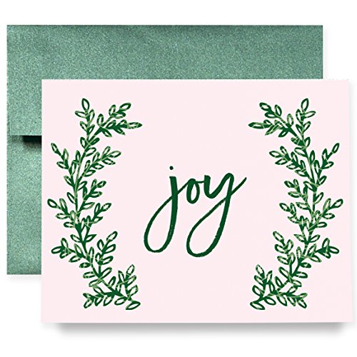 Blue Stripe Folded Note (Joy Christmas Holiday Greeting Cards Boxed Set of 8 Shimmer Cards & Emerald Envelopes Folded Pink Wreath Cards 8-Count Box |)