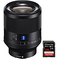 Sony Zeiss Prime Full-Frame Planar T FE 50mm F1.4 ZA E-Mount Lens (SEL50F14Z) with Sandisk Extreme PRO SDXC 128GB UHS-1 Memory Card