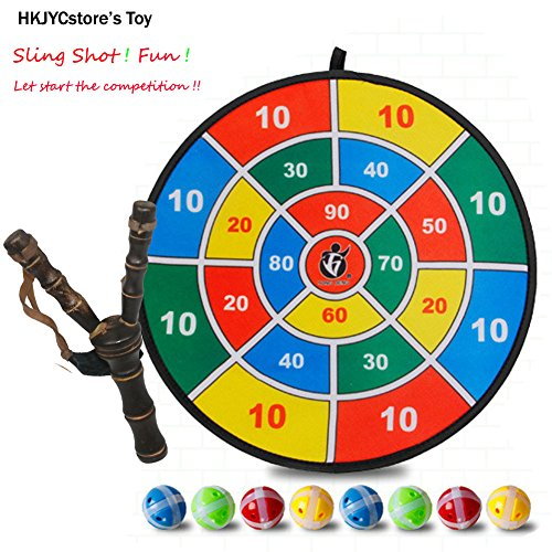 Wooden Crotch / Fork / Sling Shot with 8 Pieces target balls with Score board Balls Fork