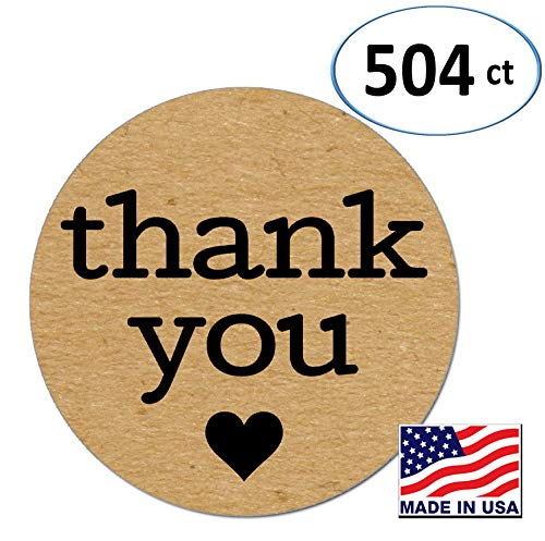 Pack of 504 Kraft Thank You Sticker Labels with Black Hearts, 1 Inch ()