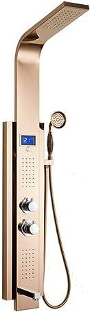 CAILD Ducha 304 mampara de Ducha termostática de Acero Inoxidable Conjunto de Ducha Dorada Columna de Ducha de baño Ducha Inteligente: Amazon.es: Hogar