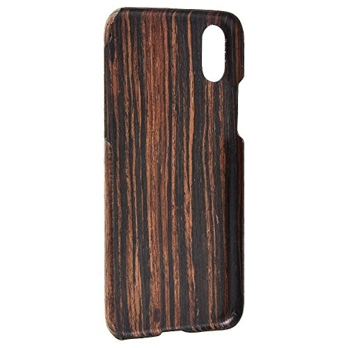 iphone X Wood Case,iPhone 10 wooden Case,SHOWKOO Slim Real Wooden Shockproof Protective iphone Cover for Apple 5.8 In iPhone X (Ebony) by Showkoo (Image #2)