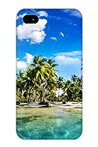 Iphone 4/4s Case - Tpu Case Protective For Iphone 4/4s- Tropics Palm Trees Sun Beach Case For Thanksgiving's Gift