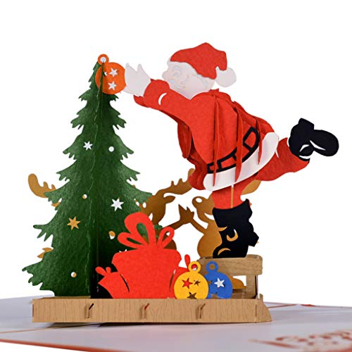 CutePopup Pop Up Christmas Cards, 3D Santa & Christmas Tree Ideal Gift for Boxing Day, Christmas, New Year, Thanksgiving with Cards & Envelopes