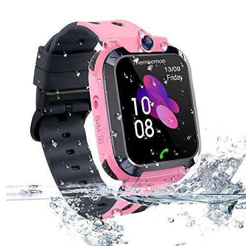 Themoemoe Kids Smartwatch Phone, Kids GPS Track Watch Waterproof Smart Watch for Kids 3-14 with SOS Anti-Lost Sim Card Smartwatch with Camera Birthday Gift for Boys Girls(Pink)
