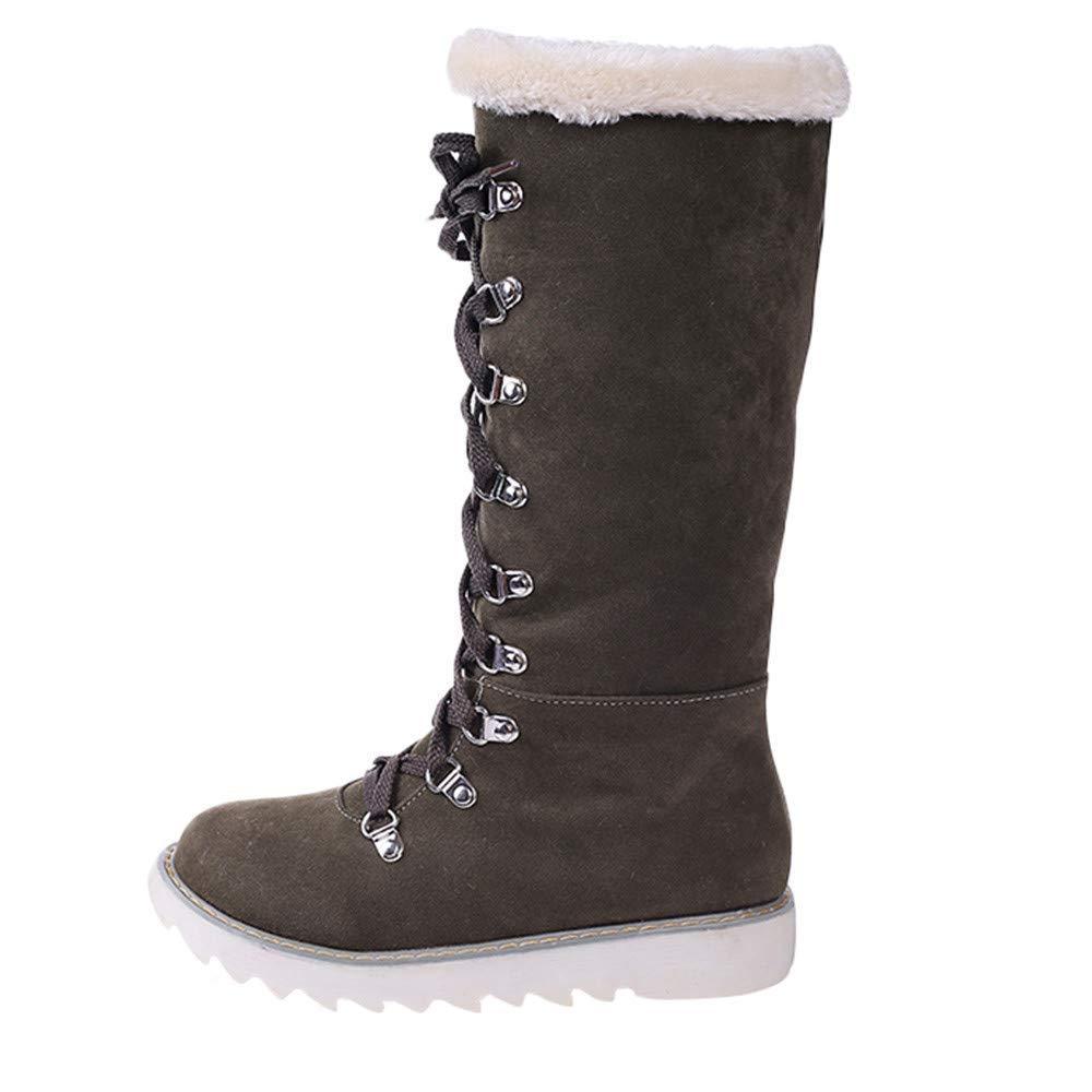 Qiusa Frauen Schuhe Plattform Lace-Up das Knie Rutschfeste runde Kappe Martin Snow Stiefel (Farbe   Grün Größe   4.5 UK)