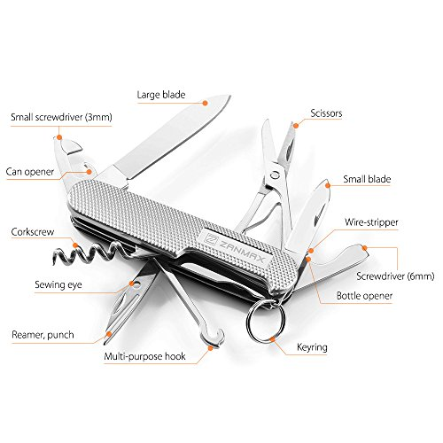 Multitool Pocket Knife, Zanmax Swiss Style Army Knife Stainless Steel 13 in 1 Multi-function Folding Knife for Camper/Climbing/Fishing/Hiking, with Scissors, Screwdriver & Multipurpose Hook