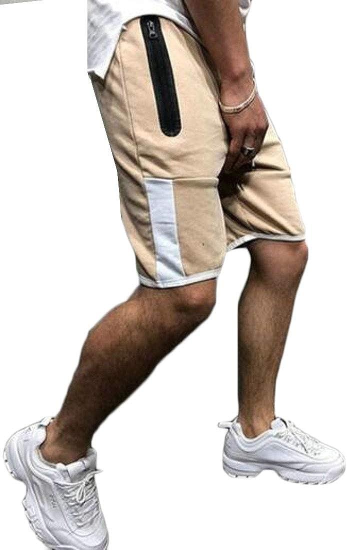 WAWAYA Men Casual Drawstring Athletic Running Trainning Color Block Shorts Sweatpants