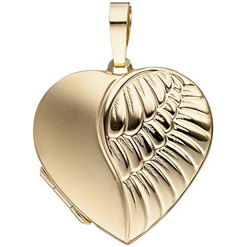 Pendentif médaillon en forme de cœur en or jaune 333 dépoli avec ouverture pour 2 photos