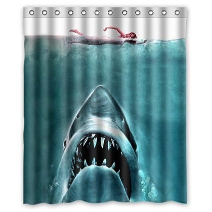 Beautiful Terror Shark Killer Shower Curtain 60wx72hInch Waterproof