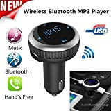 Bluetooth Car Kit FM Transmitter, Wireless In-Car Bluetooth FM Transmitter & Car Charger Modulator Hands-free Car Radio Adapter with LED Display Dual USB Port, MP3 Player U Disk & SD card Android IOS