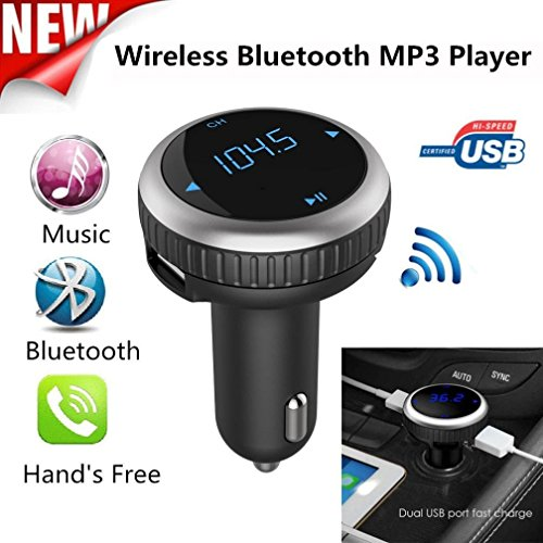 Bluetooth Car Kit FM Transmitter, Wireless In-Car Bluetooth FM Transmitter & Car Charger Modulator Hands-free Car Radio Adapter with LED Display Dual USB Port, MP3 Player U Disk & SD card Android IOS by Kinnara