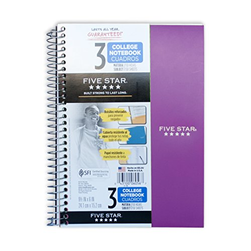 3 Subject Wirebound Notebook (Mead Five Star 3 Subject Wirebound Notebook, Graph Ruled, 150 Sheet, 9.5