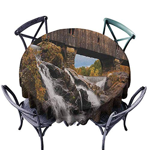 Mannwarehouse Landscape Wrinkle Resistant Tablecloth Old Rustic Oak Covered Bridge Over Cascading Waterfalls Rock Fall Season American City Easy Care D43 Brown -