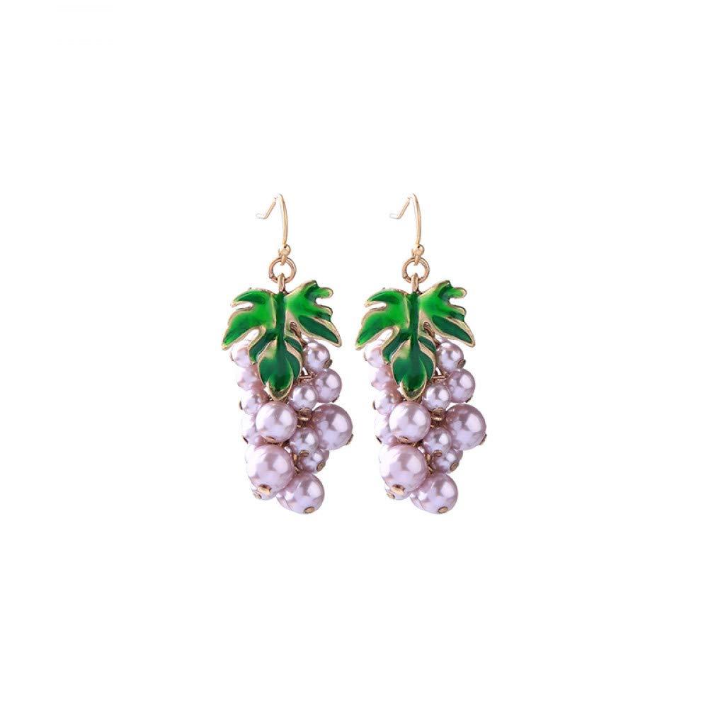 Wanmei-erhuan Cute Information Pearl Grape Beaded Dangle Drop Earrings For Girls Holiday