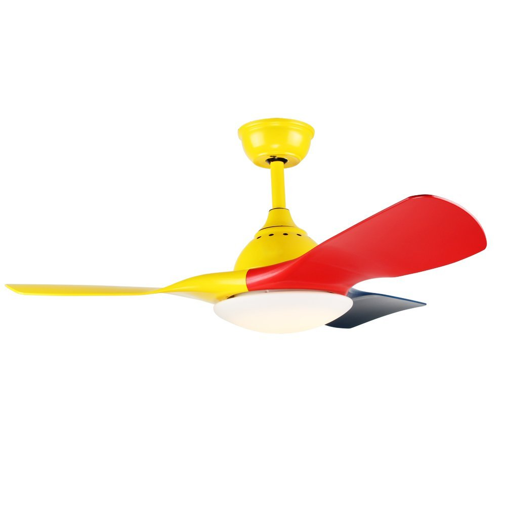 Akronfire Childrens Ceiling Fan With 3 Colorful Blades For Decorative Study Bedroom Kids Room 42 Inch