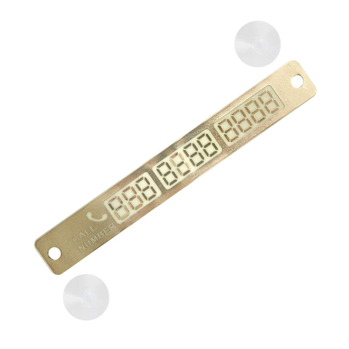 DEALPEAK Luminous Temporary Parking Card Calling Phone Number Sucker Card Plate Car Styling Number Card For Automotive Interior Accessories (Color : Gold)