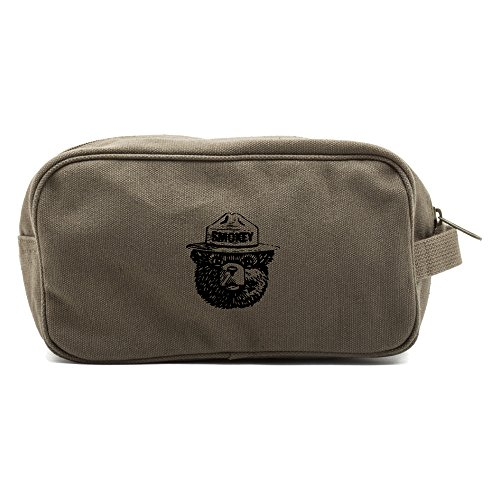 (Smokey Bear Canvas Shower Shave Kit Travel Toiletry Bag Case, Olive & Black )