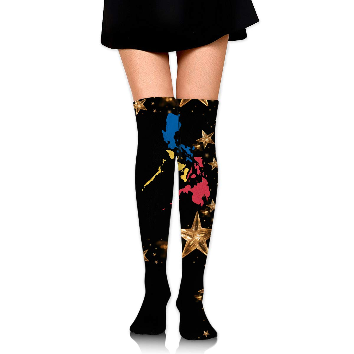 Girls Womens Filipino Map Philippines Flag2 Over Knee Thigh High Stockings Fashion Socks One Size