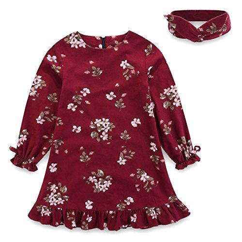 Doris Batchelor Elegant Floral Print Girls Princess Dress Children Long Sleeve Sweet Girls Costumes red 8