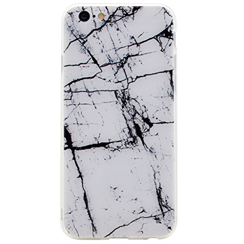 Coque Cover iPhone 6 / 6S, IJIA Ultra-mince Motif Marbre Naturel Blanc-Noir PC Dur et Les TPU Doux (2 en 1) Plastique Silicone Hard Bumper Case Cover Shell Coque Housse Etui pour Apple iPhone 6 / 6S 4