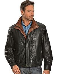 Men's Double Collar Leather Jacket - 48-33