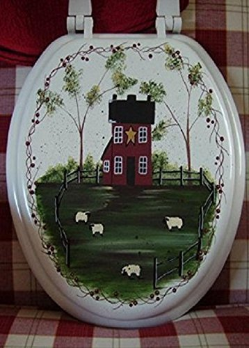 Primitive Country Decor Hand Painted Farmhouse Sheep Grazing