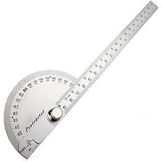 Manómetro de ángulo para regla, cabezal giratorio de acero inoxidable de 180 grados, cuadrado, 14,5 cm