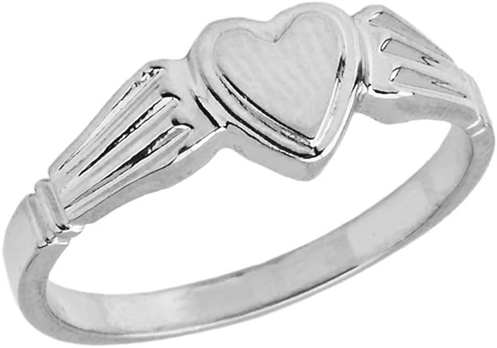 White Oval Women/'s Heart Sterling Silver Ring Size 6.75