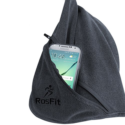 Gym Fitness Towel from RosFit - Great for Travel, Yoga, Outdoors, Running, Cycling, Working Out - Super Absorbent Microfiber - Includes Zipper Pocket and Built-In Hook. Easy to Pack Travel Towel!