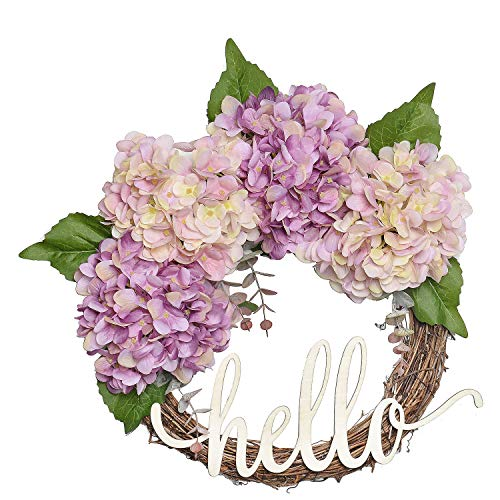 FAVOWREATH 2018 Vitality Series FAVO-W114 Handmade 14 inch Pink,Purple Hydrangea,Wild Grass,Leaf,Hello Letter Grapevine Wreath for Front Door/Wall/Fireplace Hanger Nearly Natural Everyday Home Decor by FAVOWREATH