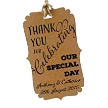Summer-Ray 50pcs Personalized Mini Bracket Kraft Wedding Favor Gift Tags Thank You for Celebrating Our Special Day