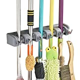 #2: VOTRON Mop Broom Holder Wall Mount Commercial Rack Storage &Organization Hanger with 5 Position with 6 Hooks Champ Grip Holds up to 11 Tools for Kitchen Garden and Garage