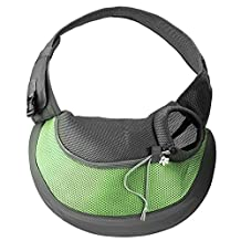 Woniu Portable Single Shoulder Sling Bag for Small Pets Outdoor Carrier Green L