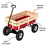 Bonebit Outdoor All Terrain Wagon Yard Beach Cargo Cart w/Wood Sides