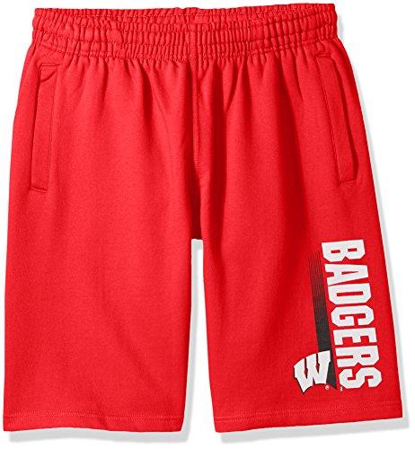 Old Varsity Brand NCAA Wisconsin Badgers CVC Fleece Shorts, Red, - Badger Shorts Cotton