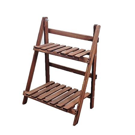 Soporte de Flores, Escalera de madera de 2 niveles Librería ...