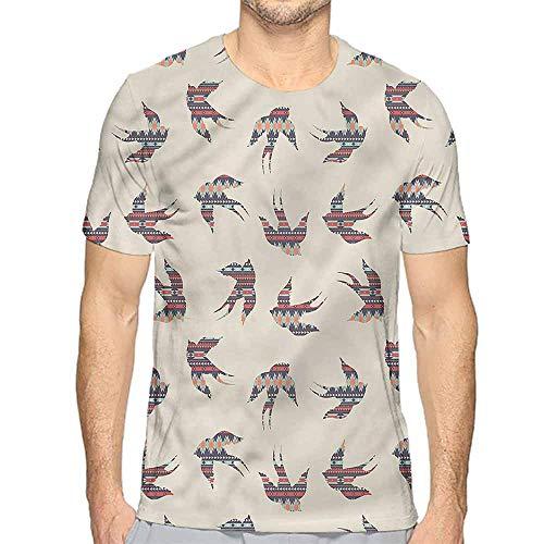t Shirt for Men Aztec,Swallow Birds Abstract Style Custom t Shirt XL -
