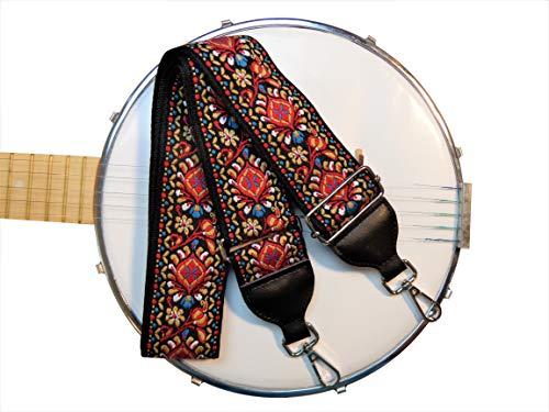 New Banjo Strap Retro Vintage Jacquard Woven Quality Snap (Red White and Blue Paisley Banjo)