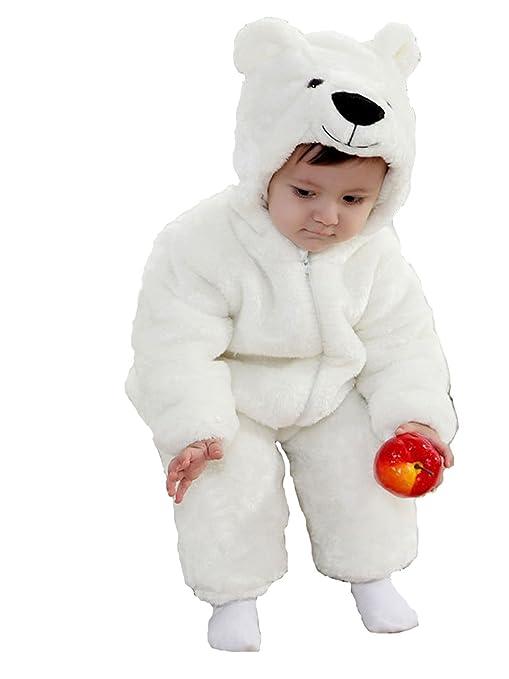 Oso Polar animales bebé disfraz 3 – 24 M manga larga de franela One piece bebé