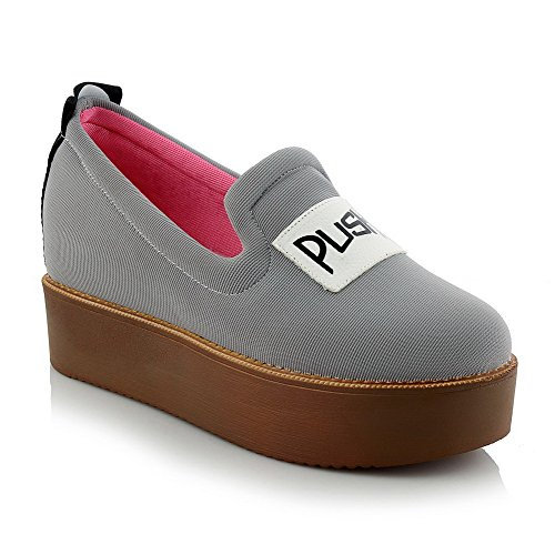 AllhqFashion Womens Round Closed Toe Pull On Fabric Assorted Color Low Heels Pumps-Shoes Gray 9JQM0h