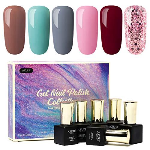 AZUREBEAUTY Gel Nail Polish Set with Gift Box - Soak Off UV LED 6 Colors Gel Nail Polish kit, Birthday Anniversary Christmas Present for Wife, Aunt, Nana, Daughter