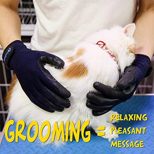 GoPetee Pet Dog Grooming Glove 2 in 1 Cat Horse Hair Removal Massage Mitt Rubber Brush with Flexible Five Finger Design for Shedding Bathing Long and Short FurLong Short Fur (1 Pair) …