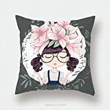 Custom Satin Pillowcase Protector Cute Girl Vector T Shirt Print Book Illustrations For Children Romantic Hand Drawing Poster Cartoon 512187832 Pillow Case Covers Decorative