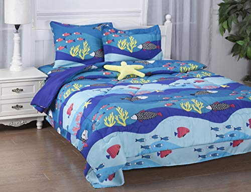 GorgeousHomeLinen 6-PC Twin Complete Bed in A Bag Comforter Bedding Set with Furry Friend and Matching Sheet Set for Kids (Twin, SEA Fish)