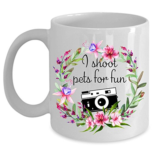 Pet Photographer Funny Gifts - I Shoot Pets For Fun - Retro Camera Floral Wreath Mugs - Funny Coffee Mug Tea Cup - Father's Day, Birthday- Ceramic White (11 oz.) (11 Ounce Breakfast Cup)