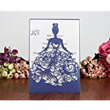 PONATIA 25PCS Laser Cut Wedding Invitations Card Hollow Bride Invitations Cards for Wedding Bridal Invitation Engagement Invitations Cards (Royal blue)